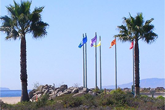 Look of  flag post at the beach