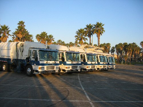 Fleet of garbage trucks