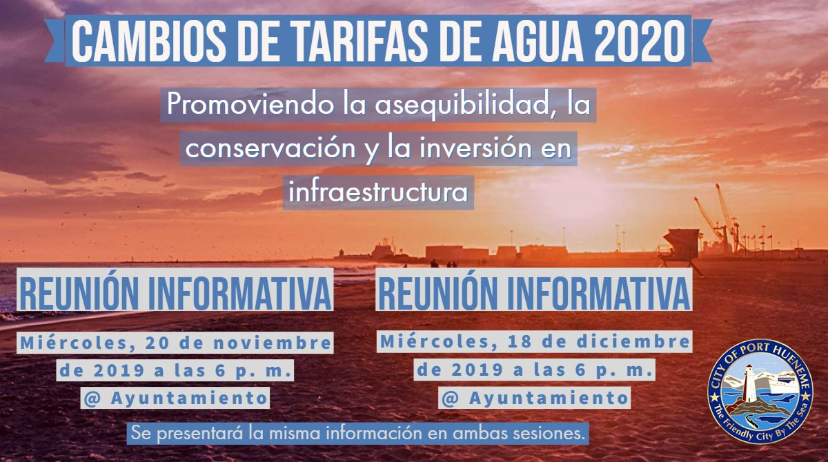 2020 Water Rate Changes Meeting Notice in Spanish